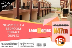 4 Bedroom Terrace Duplexes situated at Chevron Alternative, Lekki